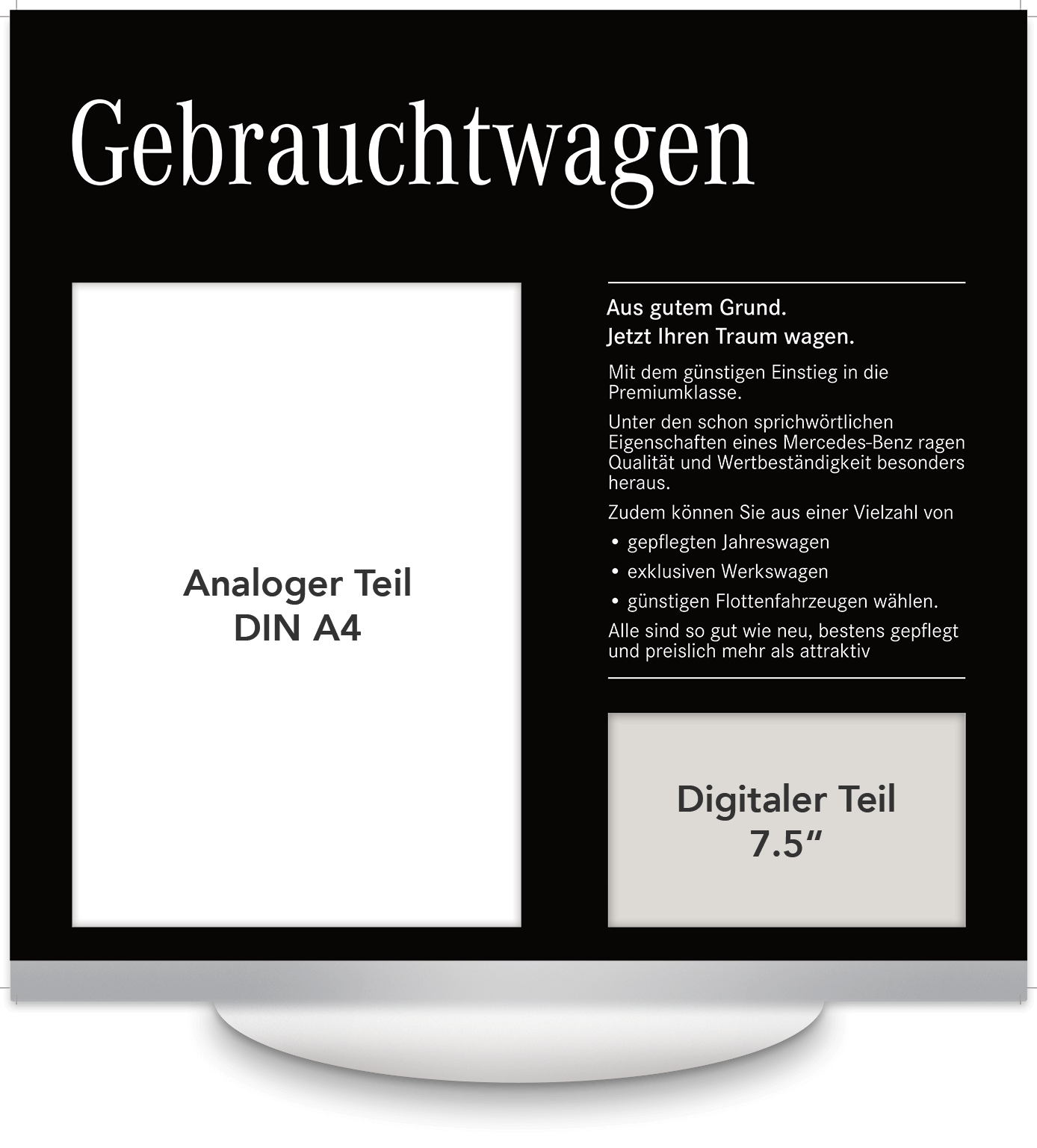 Elektronisches Preisschild 7.5 Zoll Mercedes Gebrauchtwagen Design