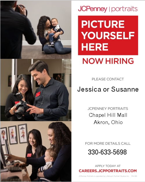 People taking photos and hiring information for JC Penney Portraits