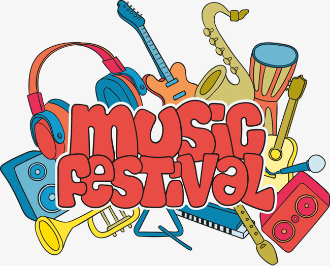 colorful instruments with music festival bubble letters