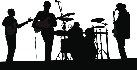 black silhouette of a band