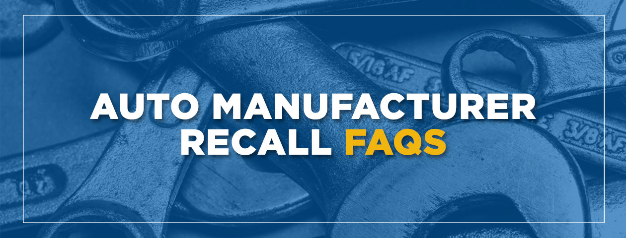wrenches in background with caption Auto Manufacturer Recall FAQs