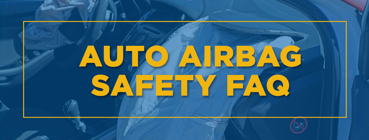 auto airbag safety FAQ over photo of deployed airbag