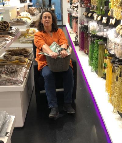 Ali in her make-shift wheelchair