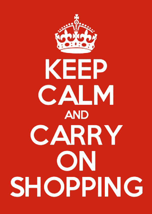 Keep calm and carry on shopping graphic