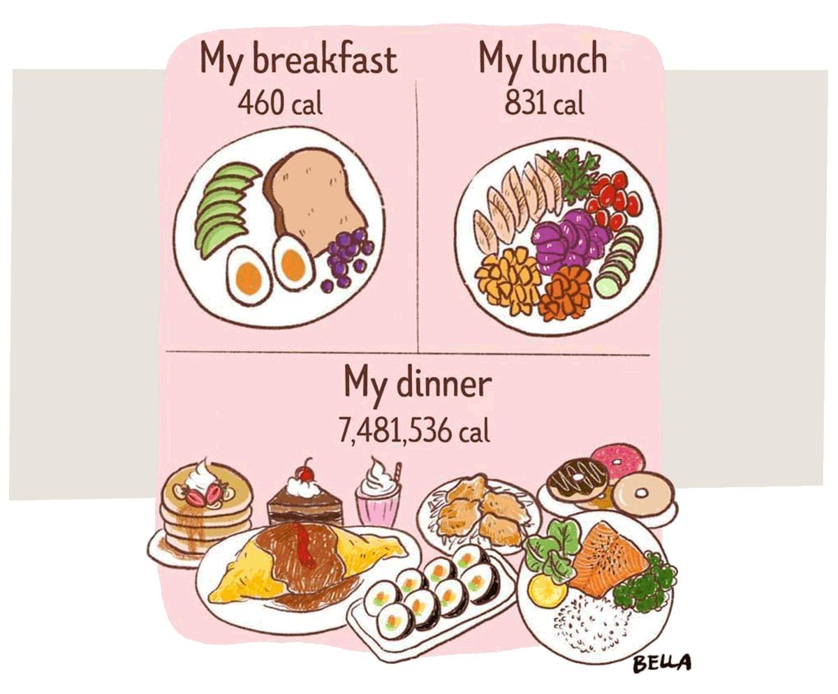Daily calorie intake graphic - joke