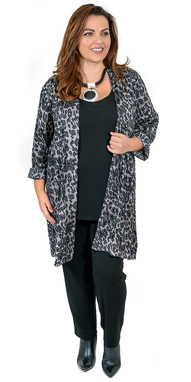 This model is wearing a gorgeous grey leopard print long kimono from Masai teamed with Q'neel silky jersey vest and trousers