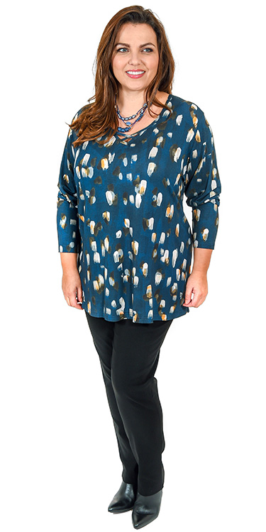 This model is wearing a lovely splodge print long sleeved t-shirt with Mona Lisa black narrow trousers
