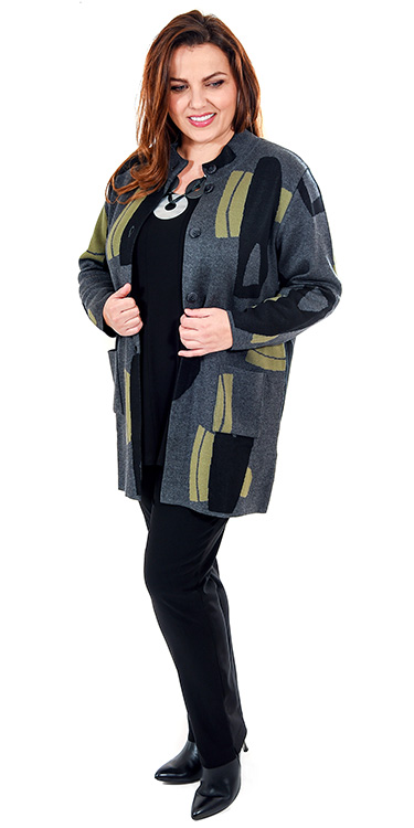 This model is wearing a stylish abstract neru jacket from Mona Lisa along with a Q'neel panel t-shirt and Mona Lisa narrow stretch trousers in black