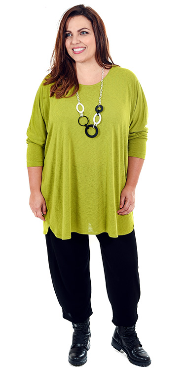 This model is wearing a gorgous lime coloured lightweight modal sloppy jumper teamed with Masai Patti harem trousers in black