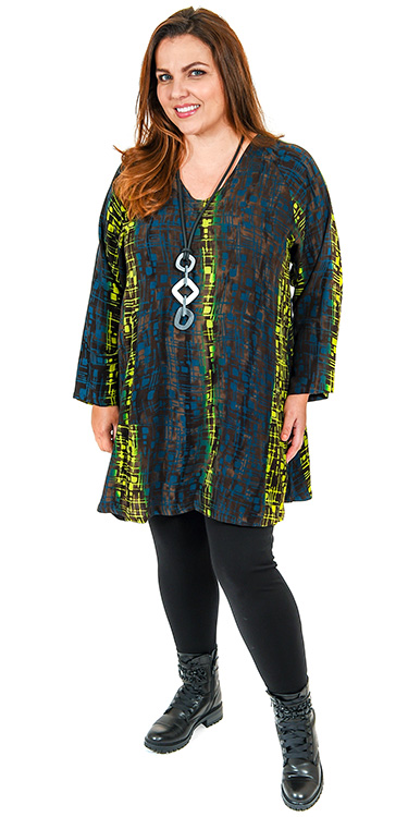This model is wearing a funky v neck long batik print tunic from Angel Circle teamed with Kasbah thick leggings in black