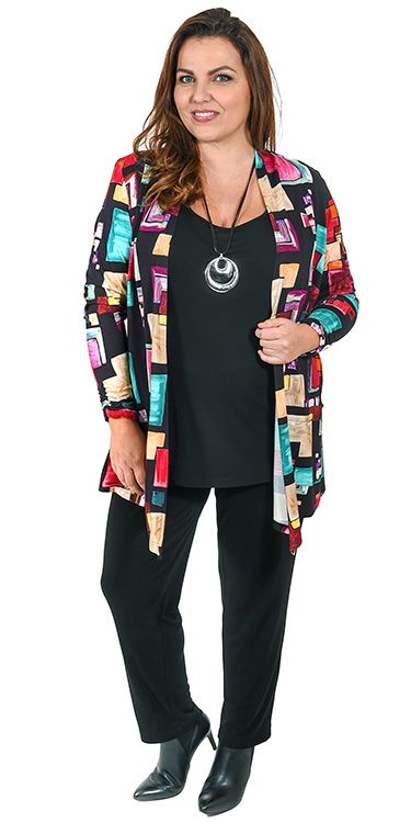 This model is wearing a light jersey jacket with abstract squares print teamed with Q'neel silky jersey vest and narrow trousers
