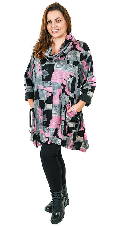 This model is wearing a sumptuous pink and black one size cowl tunic from AKH with Kasbah leggings