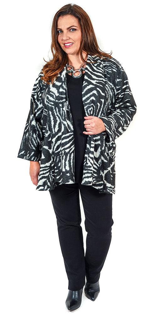This image shows a fabulous zebra print edge to edge jacket from Kasbah with a Q'neel panel t-shirt in black and Robell pull on stretch jeans in black
