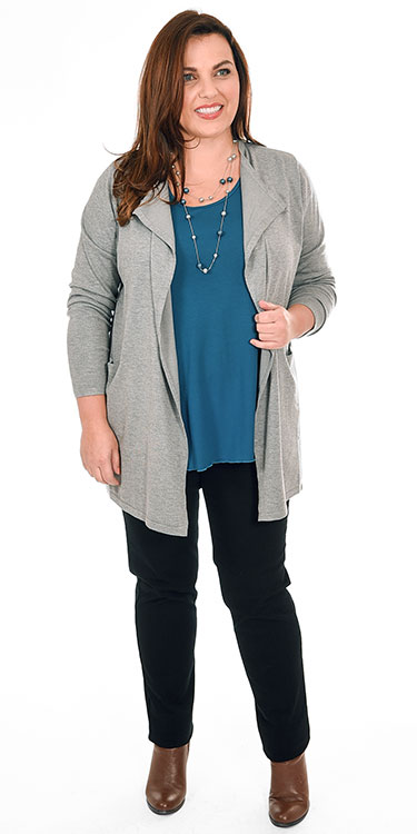 This model is wearing a casual draped cardi from Pont Neuf in light grey mele teamed with an Exelle long sleeved t-shirt and Robell Elena super skinny stretch jeans