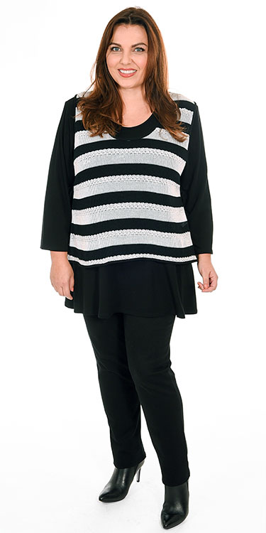 This model is wearing a two piece striped jumper from Hertz with Robell Elena super skinny super stretch jeans