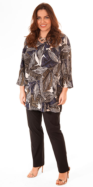 This model is wearing a v neck tunic in stylish leaf print by Q'neel paired with Mona Lisa lightweight black trousers.