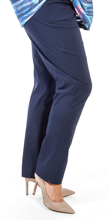 This model is wearing Mona Lisa lightweight narrow stretch pull on trousers