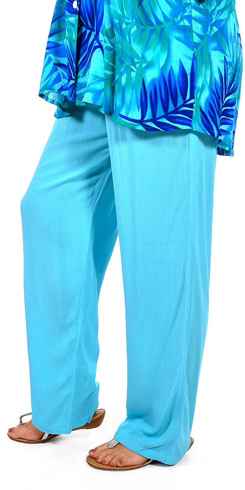 This image shows a model wearing Angel Circle crinkle viscose trousers