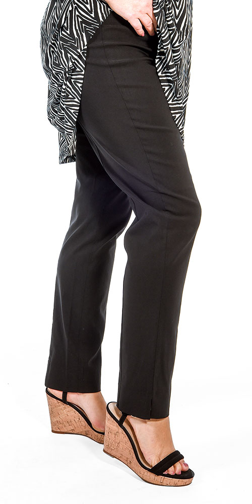This image shows a model wearing Mona Lisa lightweight narrow stretch trousers