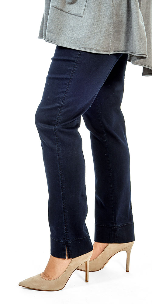 This image shows a model wearing Robell Marie pull on jeans in dark denim from Bakou