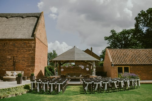 An outside wedding venue all dressed and ready with no wedding guests to attend.