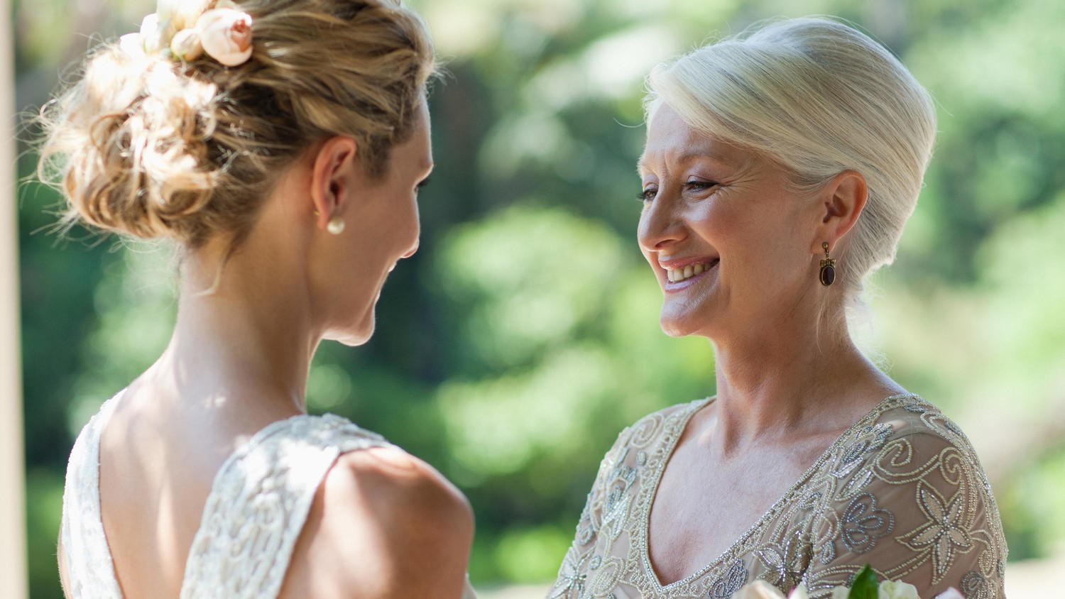 A Bride and her Mother gazing lovingly at each other