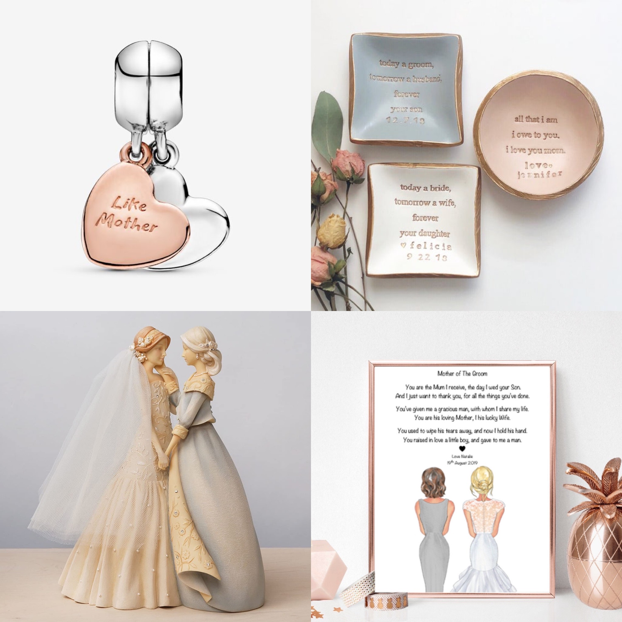 Jewellery, trinkets and a framed picture, wedding gifts for the Mother of the bride.