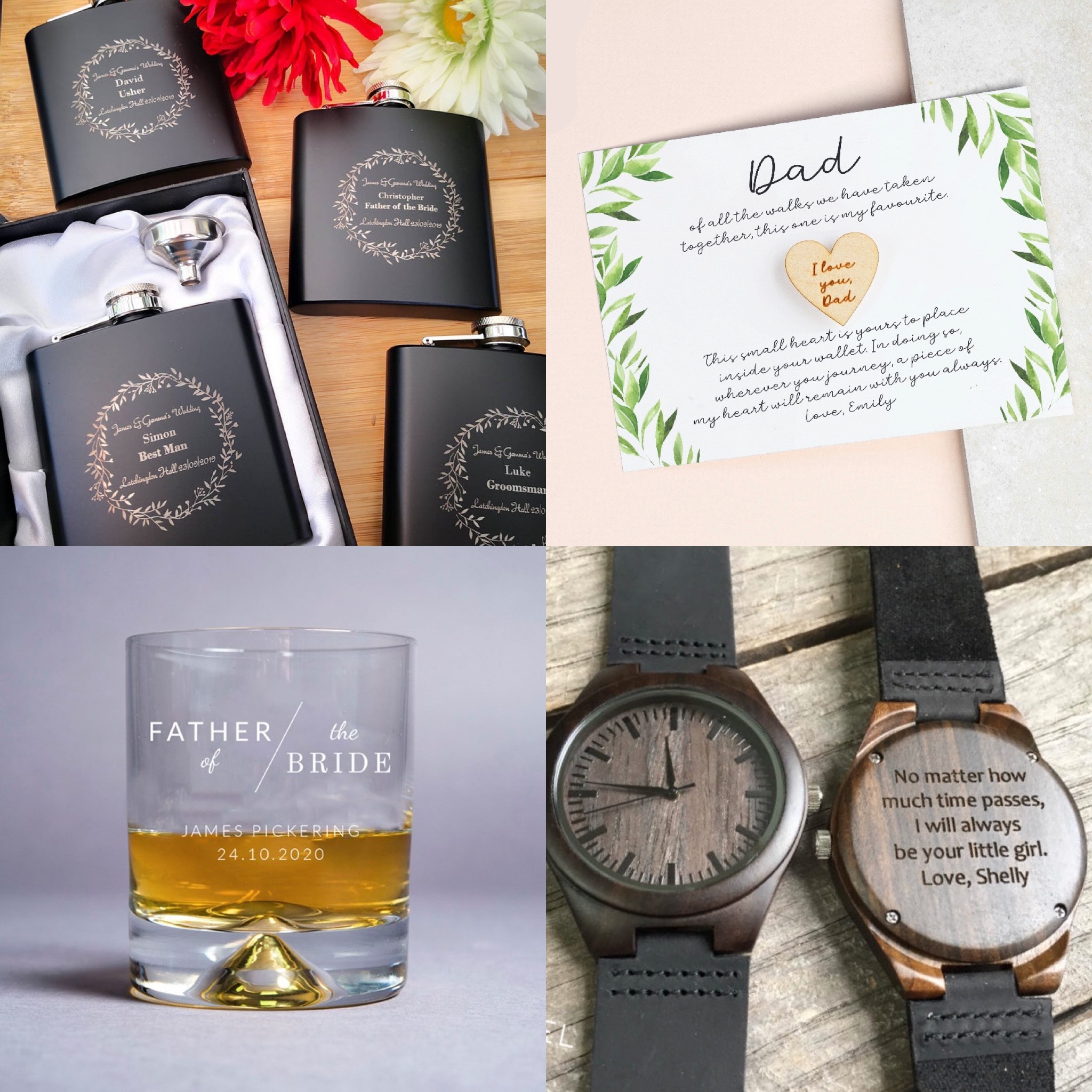 wedding day gifts for the Father of the Bride, A hp flask, a whisky glass and an engraved watch.