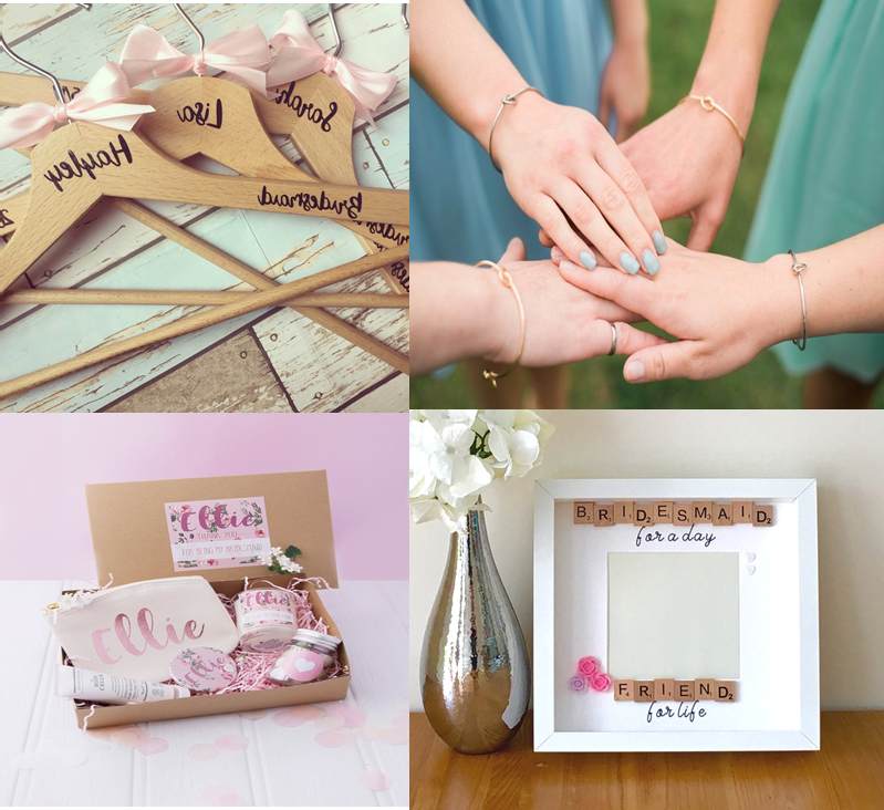 some personalised wooden hangers, bridesmaid toque bracelets, bridesmaid gift box with toiletries and a frame with room for a photo.