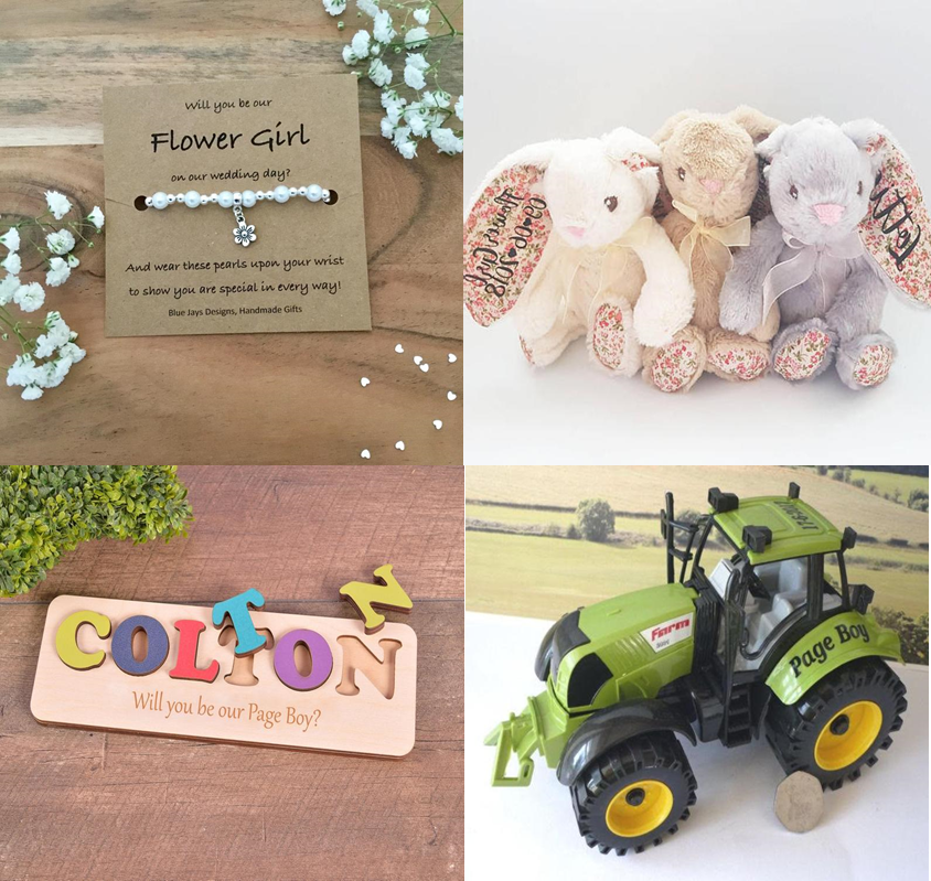 a bead bracelet and cully bunny for a flower gorl and a jigsaw and toy tractor for a page boy