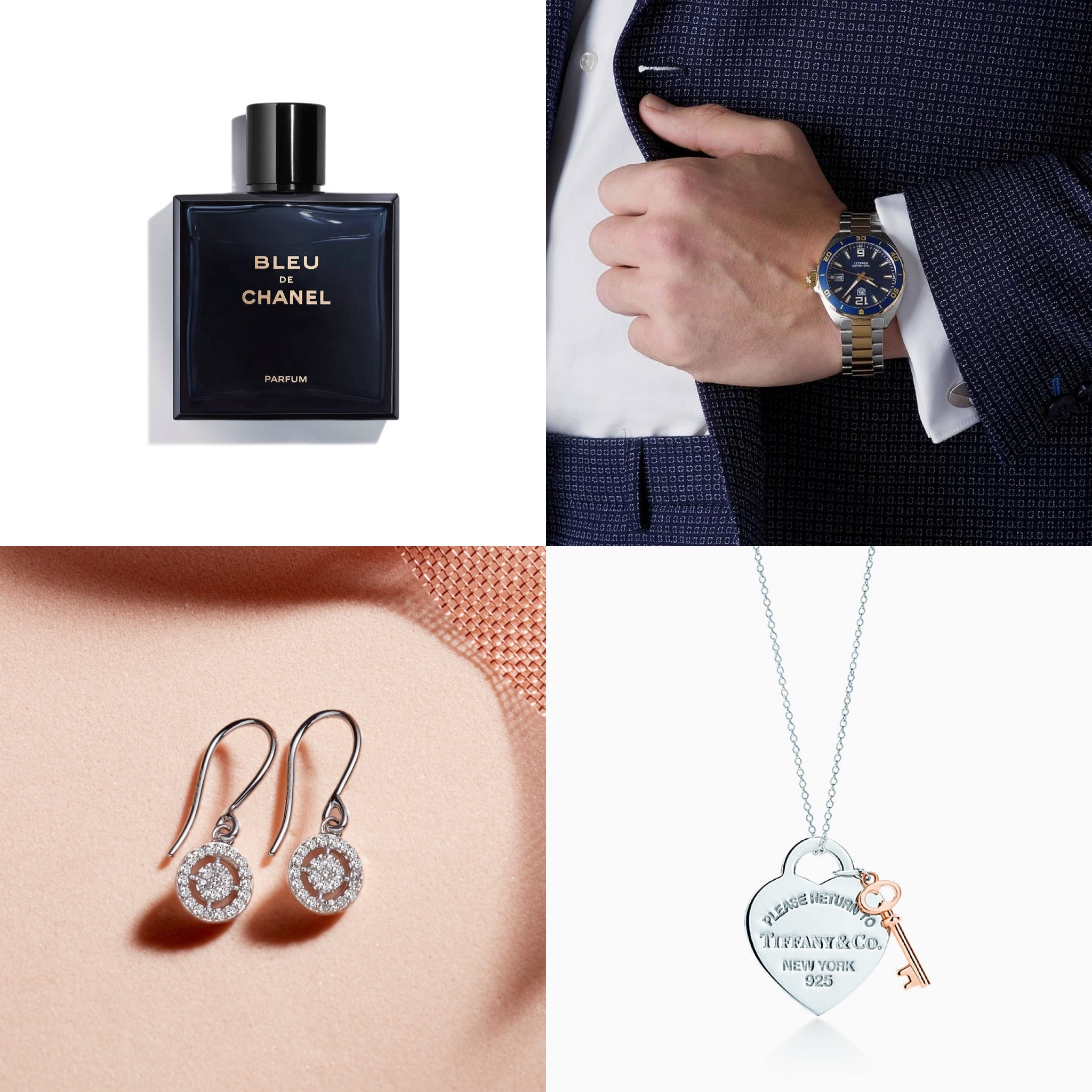Aftershave, a mans watch, a pair of diamond earrings and a tiffany necklace.