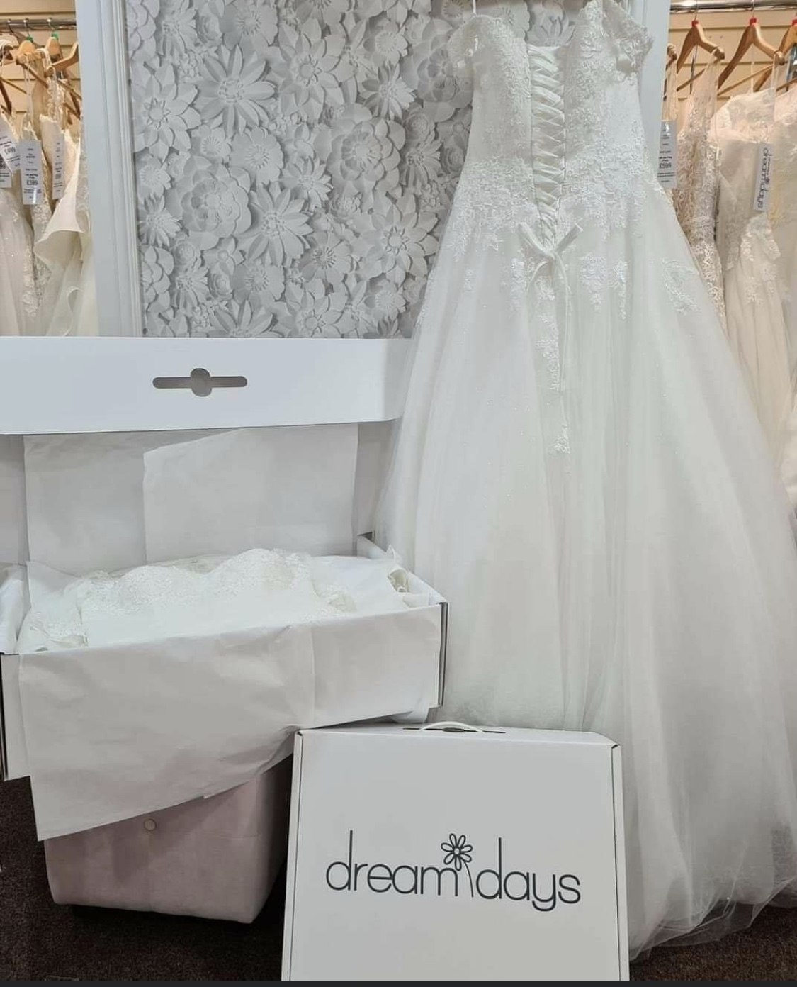 Wedding gown which has been cleaned ready to be boxed into a wedding carton.