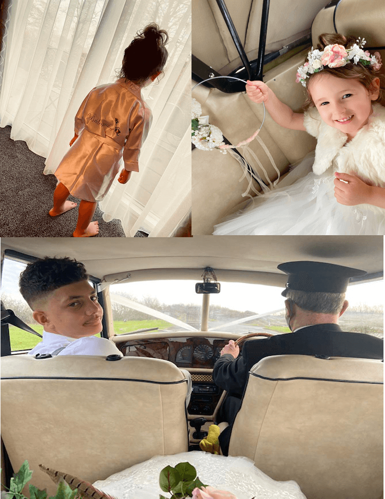 Little bridesmaid getting ready and on the way to the wedding venue.