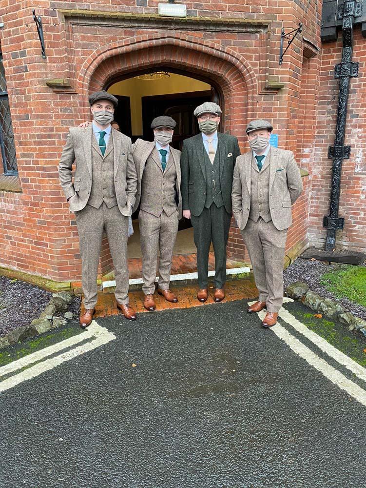 A Groom and his Best Men in their Peaky Binder suits.