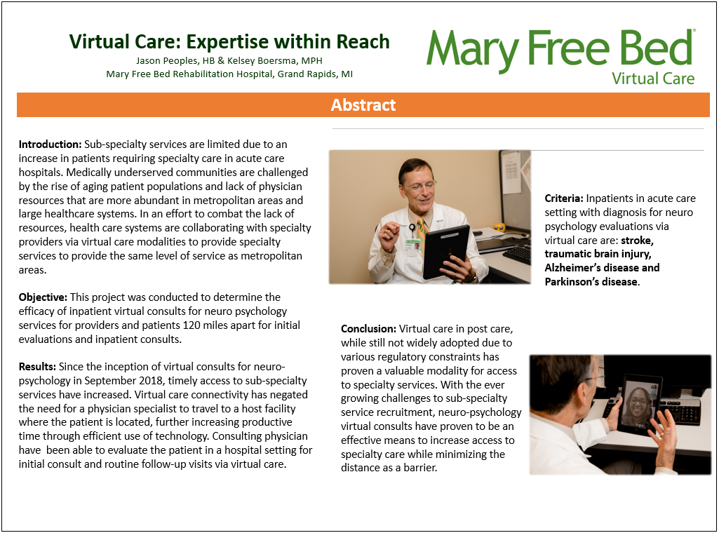 Virtual Care: Expertise Within Reach research poster by Jason Peoples