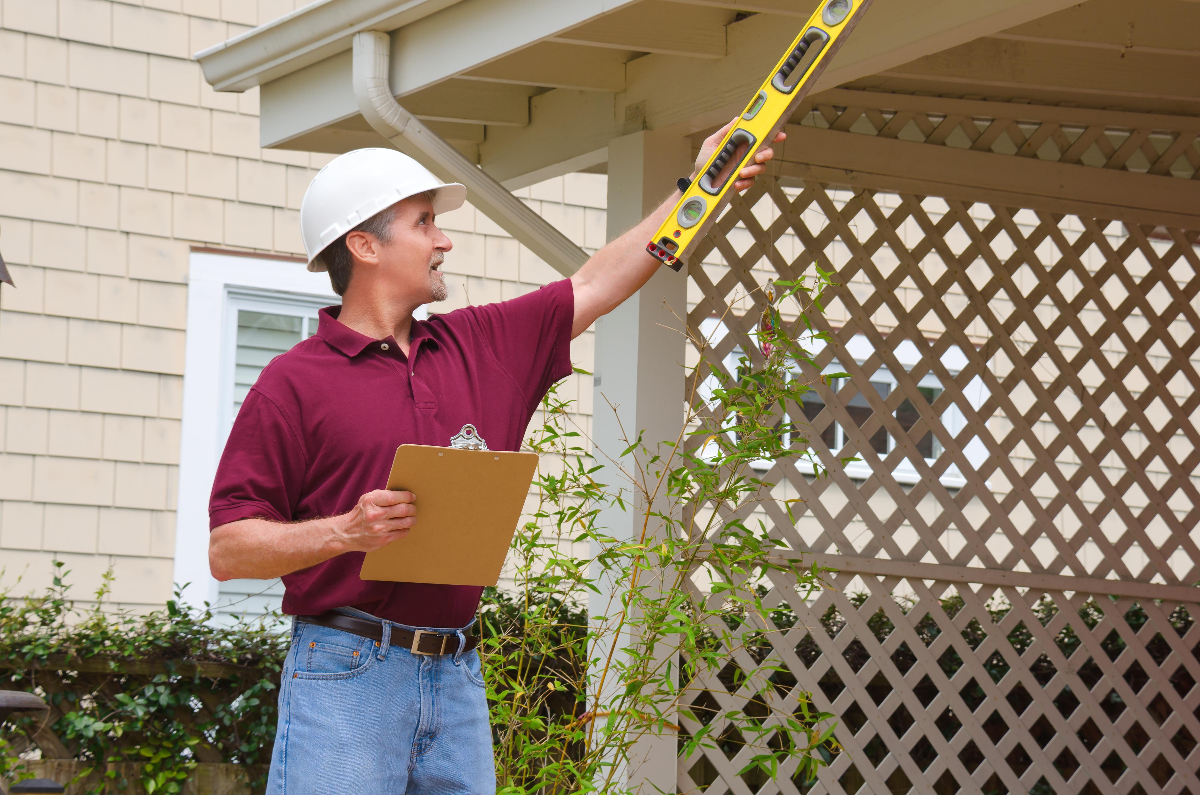 Contractor inspecting work.