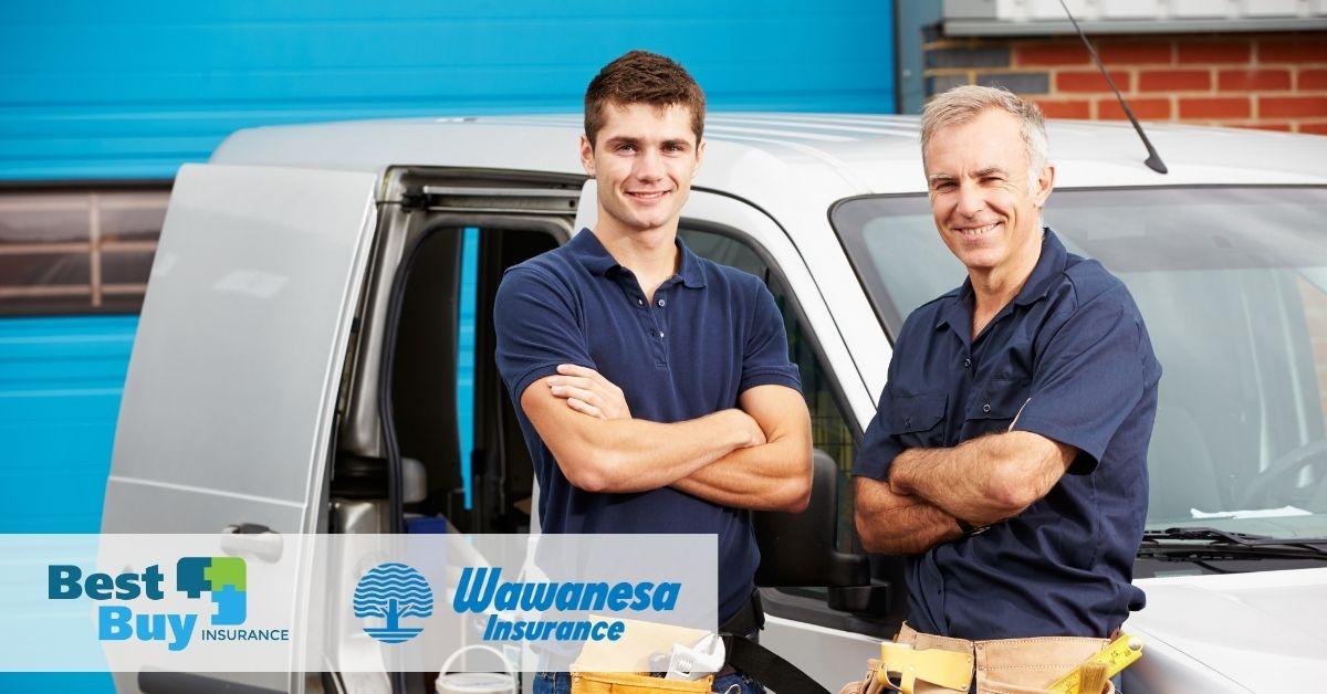 Contractors standing in front of van
