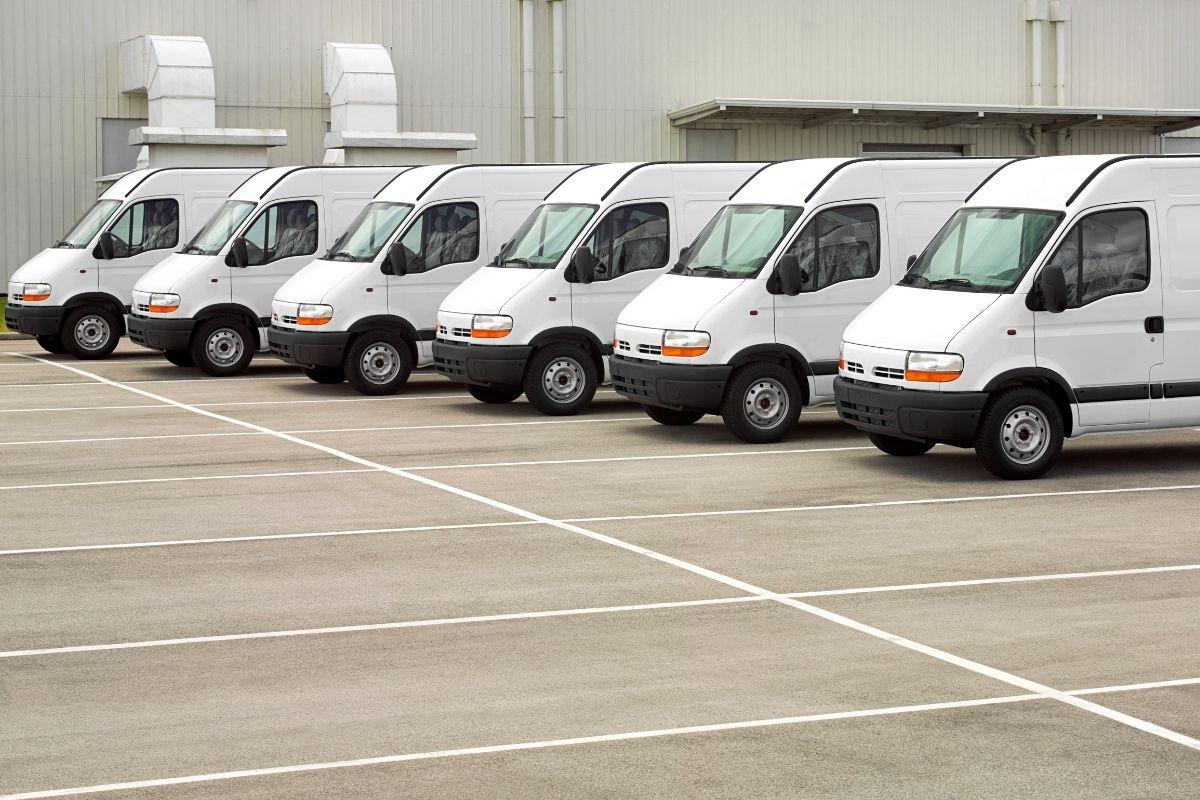 Row of work vans - fleet insurance