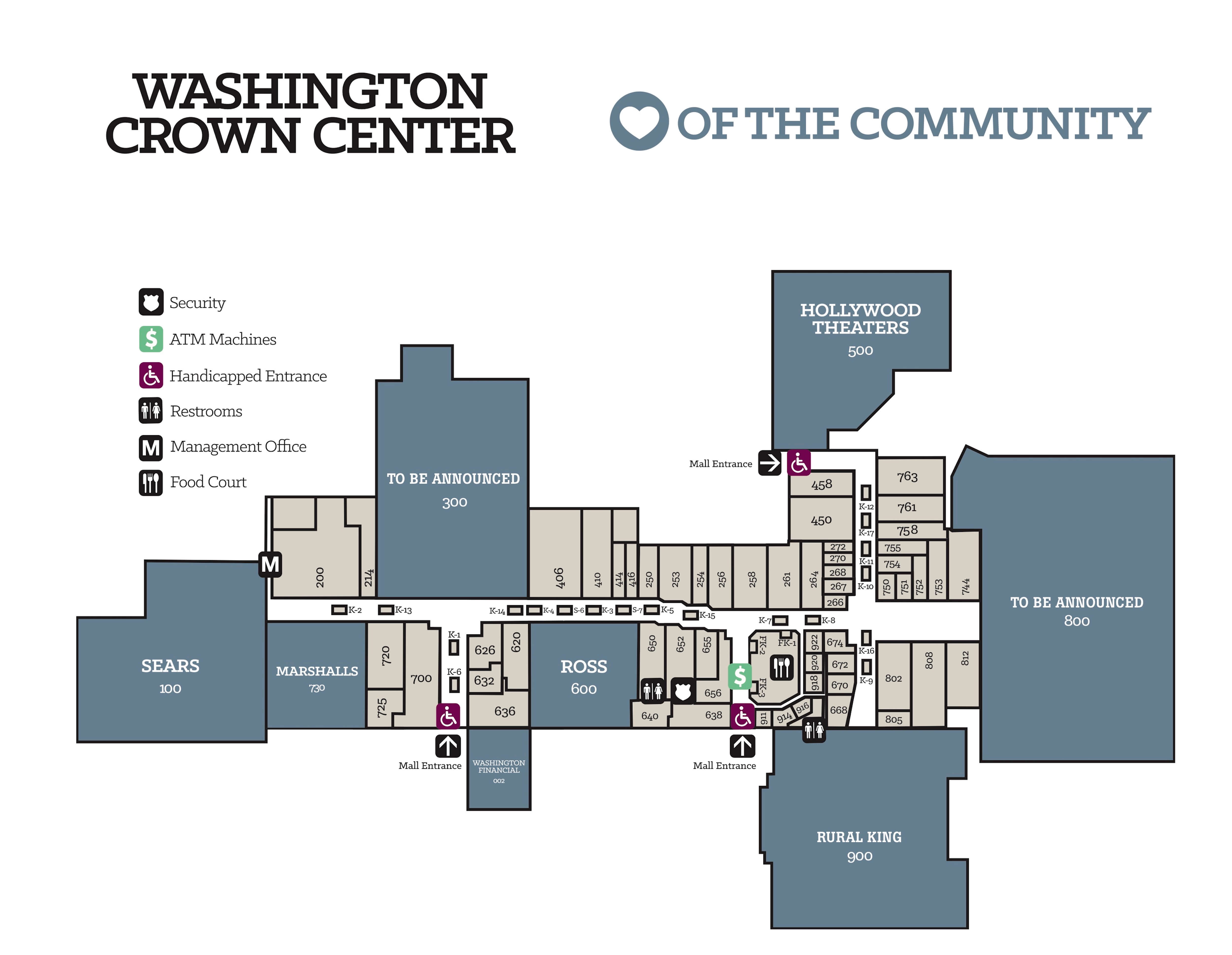 Washington Crown Center Mall Map