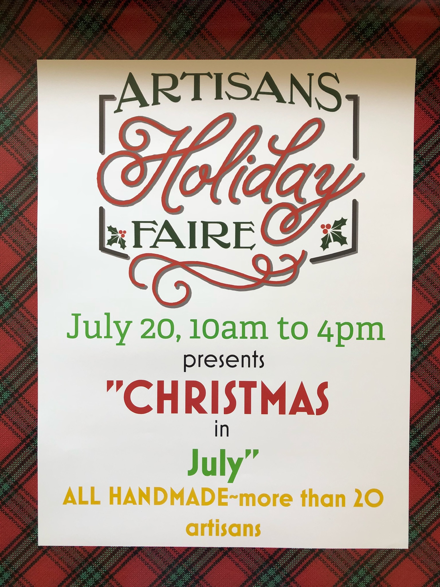 Christmas plaid and information about Artisans Holiday Faire