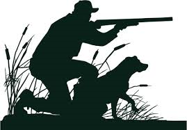 Silhouetted graphic of a man holding a hunting rifle with his hunting dog next to him