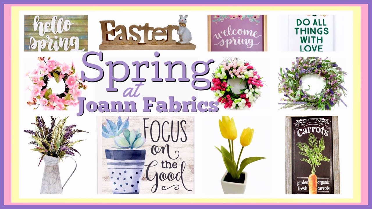 Joan Fabrics spring decor including a wreath flowers and easter figurines
