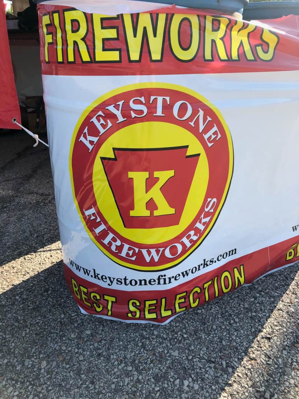 Photo of a poster with the Keystone Fireworks logo on it