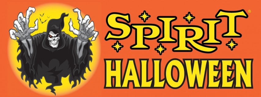 spirit halloween logo with yellow writing on orange background and skeleton ghost with black robes