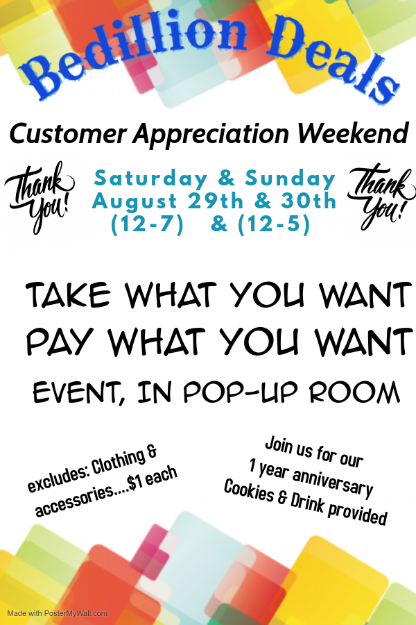 multicolored balloons and information about bedillion deals anniversary weekend