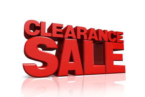 Clearance sale in bold red letters