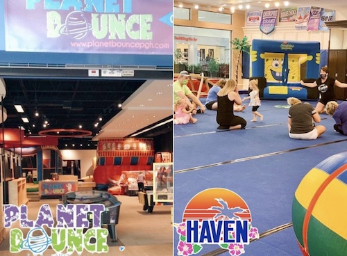 Photo of planet bounce red and blue interior and children and cheer instructors at haven cheer