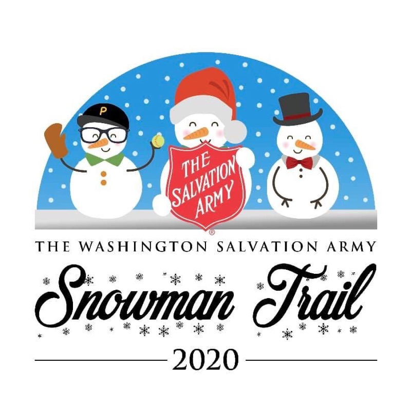 three snowmen, one with a baseball cap, one with a santa hat holding a salvation army sign and one with a top hat and scarf