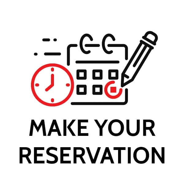 black and red timer and calendar icons with make your reservation writing
