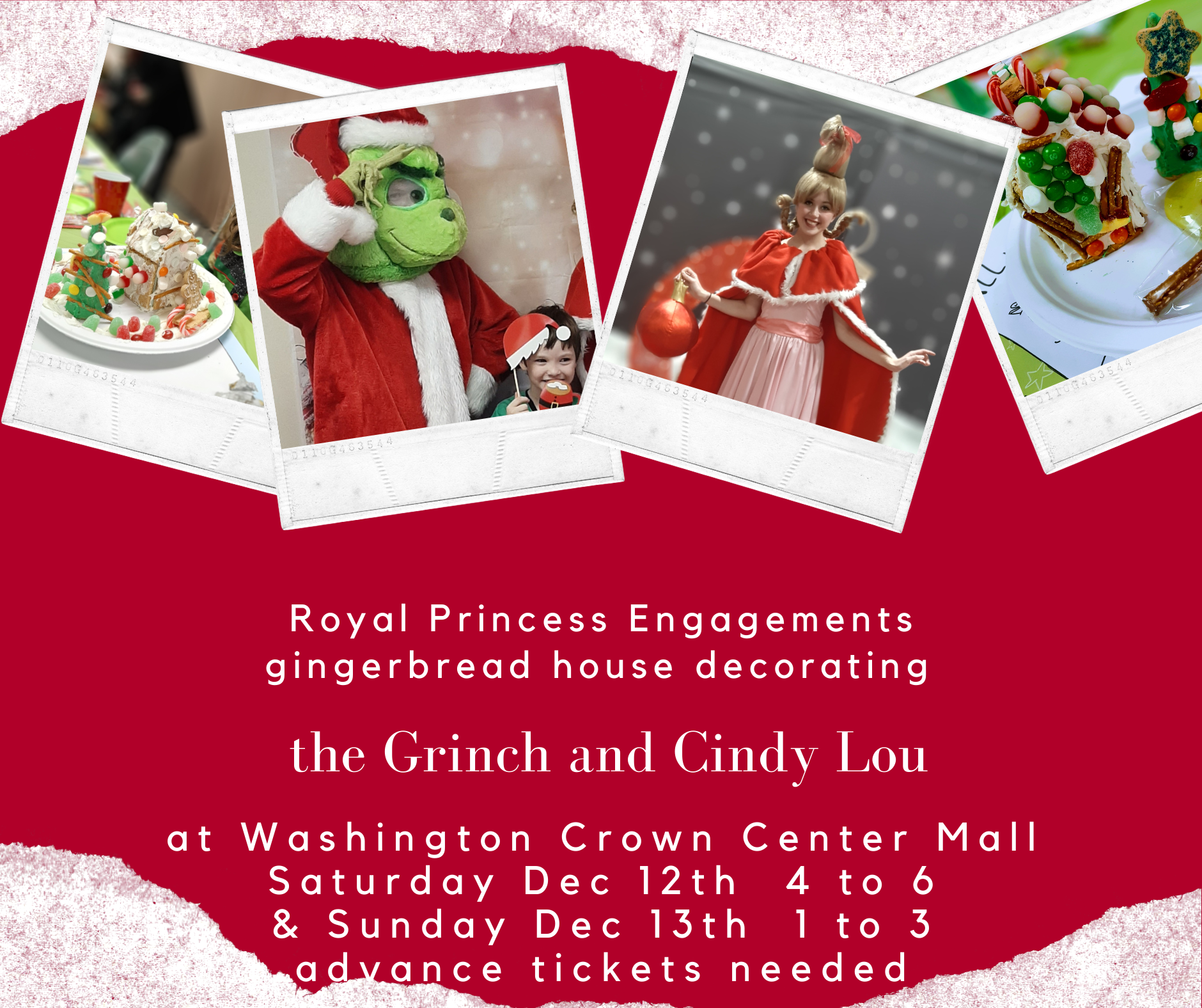 Four photos in a banner two have colorful gingerbread houses, one is a photo of the grinch and one is cindy lou who